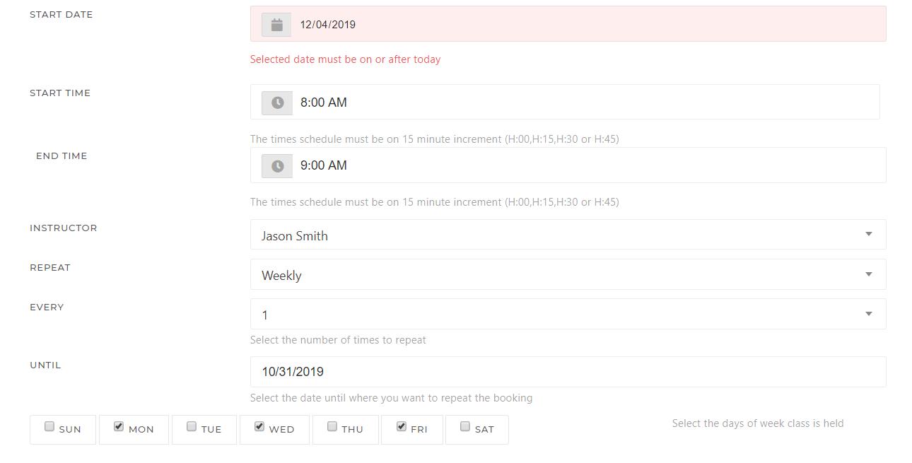 KRIYA Affordable Yoga Studio Management Software Add Class Schedule