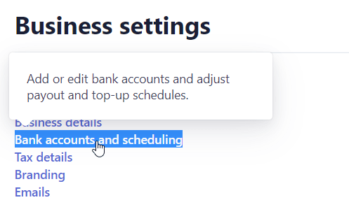 Bank Account and Scheduling in Stripe