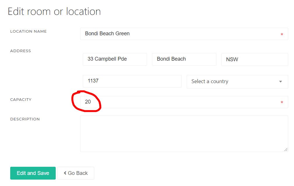 Capacity Edit Location or Room - KRIYA Software