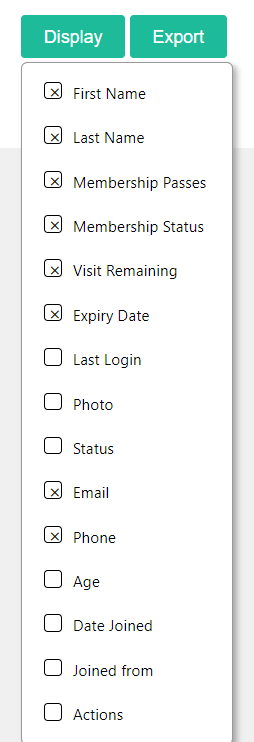 Customer Display Columns Filter