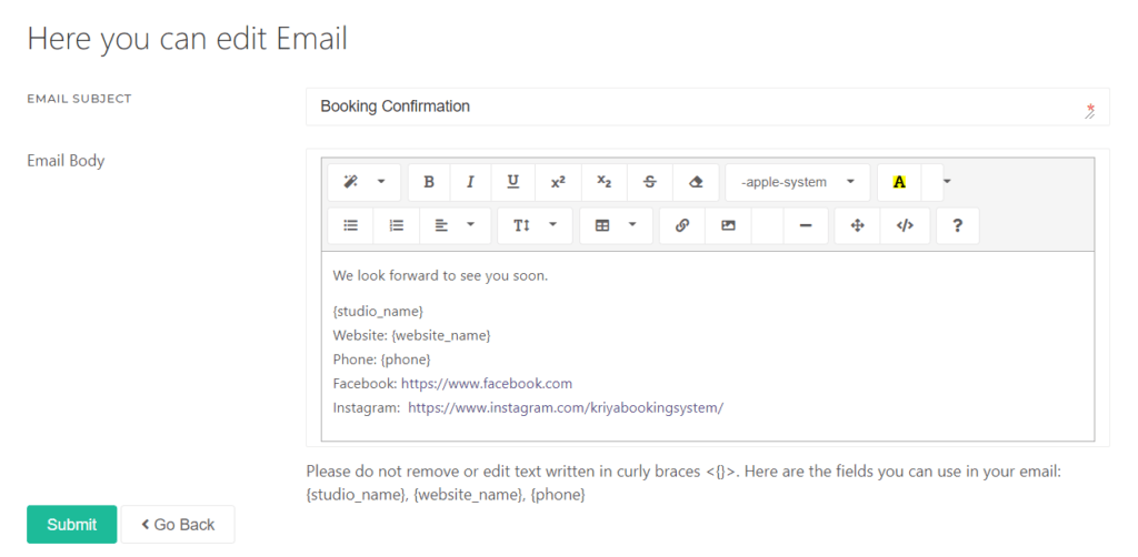 Editing the Bottom of the Booking Confirmation Email