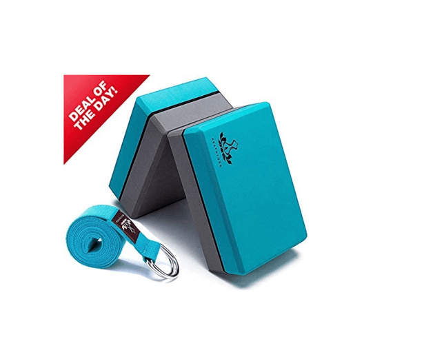 Heathyoga Yoga Block (2 Pack) and Yoga Strap Set