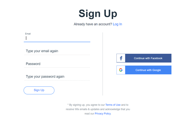 How to Sign up for Wix
