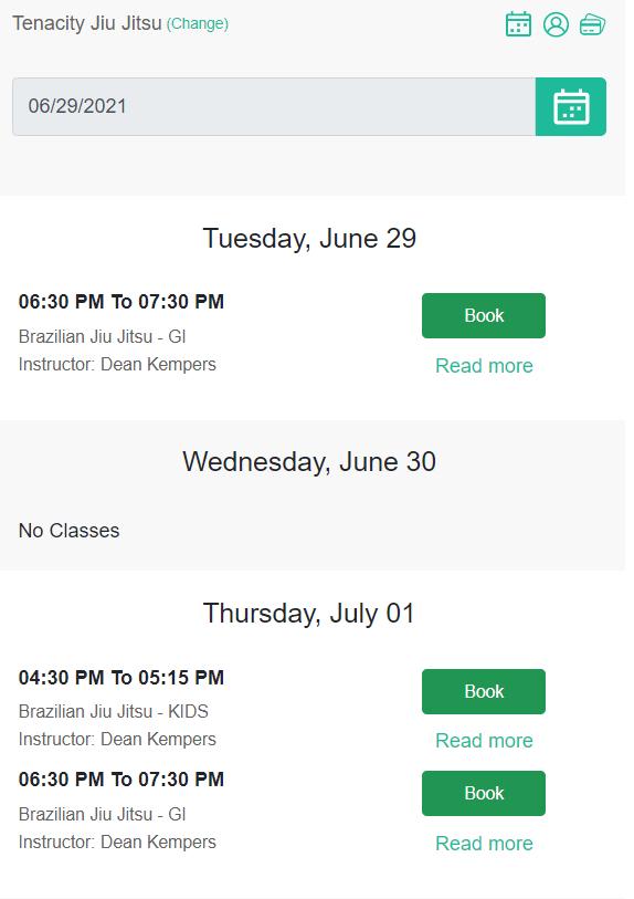 Jiu Jitsu Schedule and Timetable