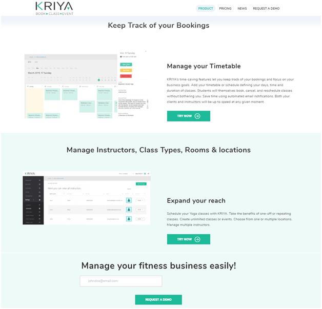 KRIYA Online Booking for Yoga Studios- Free