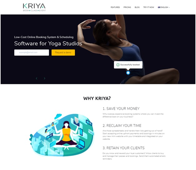 KRIYA booking system for yoga scheduling