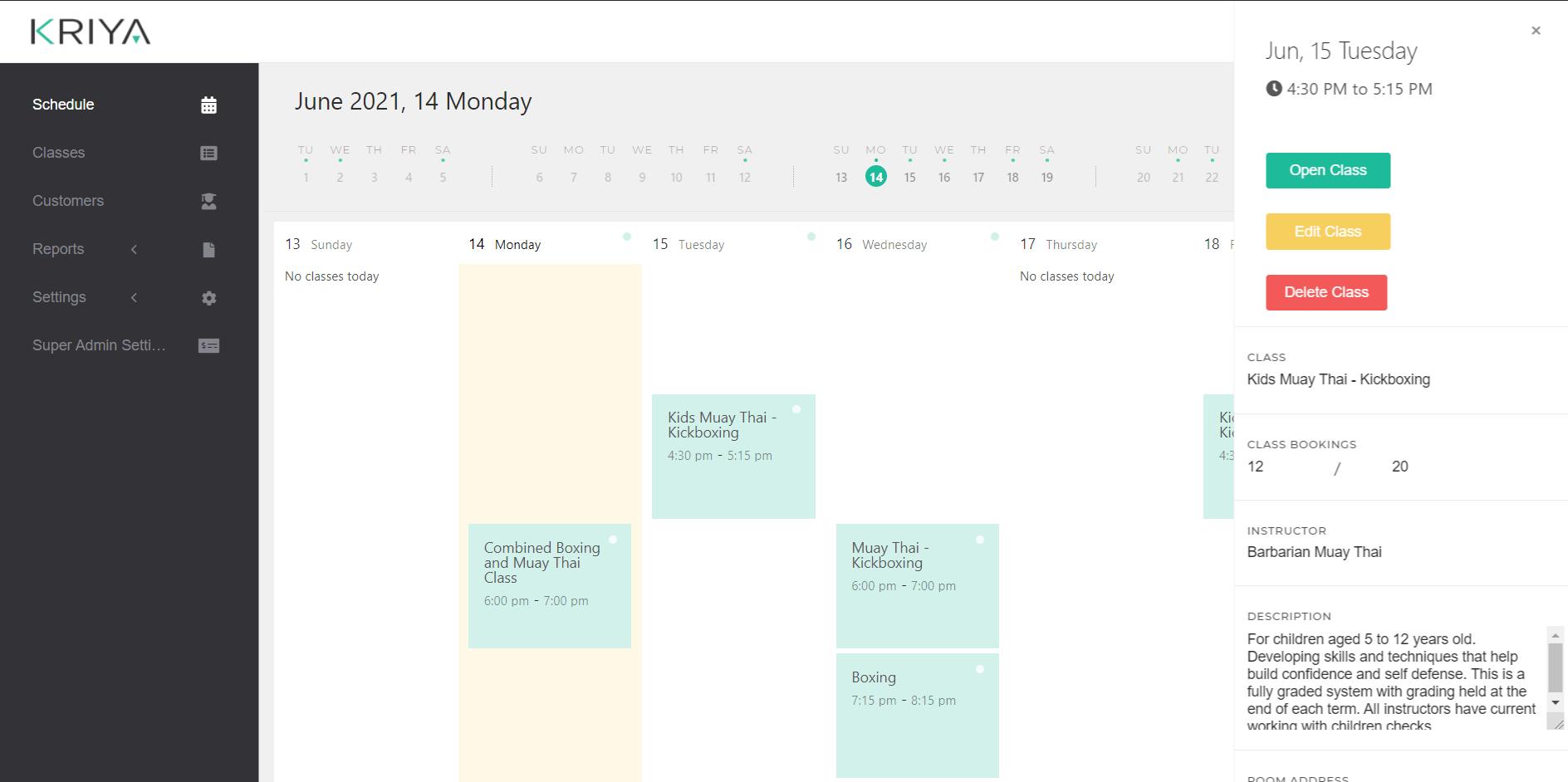 Muay Thai Kickboxing Schedule - KRIYA Software