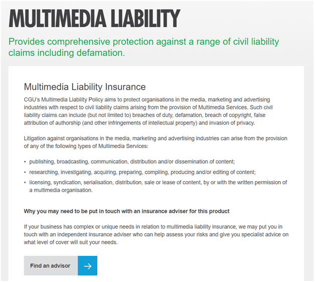 Multimedia liability insurance