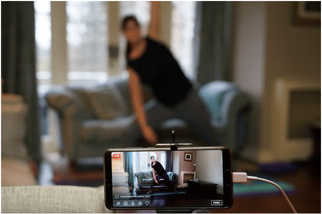 Online yoga class streamed through Zoom
