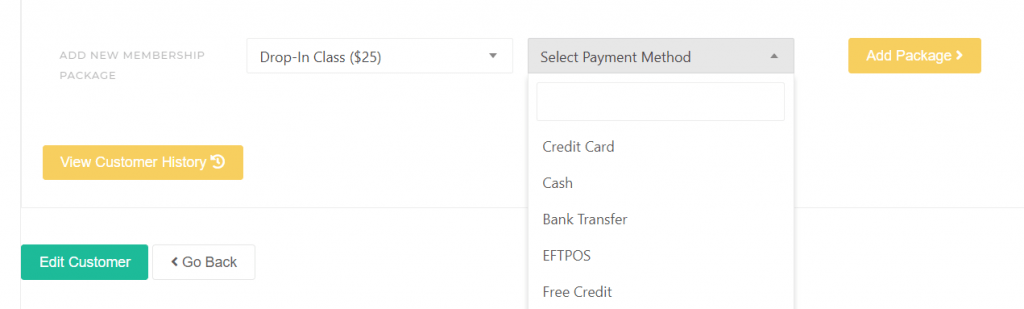 Pay by Cash a Pass, Customer details - KRIYA Software