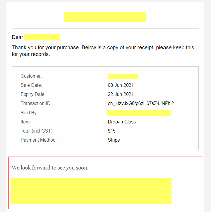 Purchase Confirmation Email