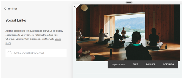 Add social links to your yoga website