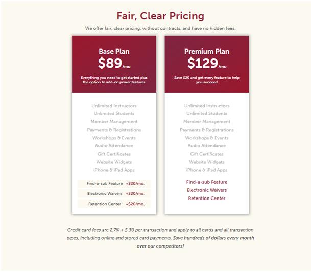 Tula Yoga Software Pricing