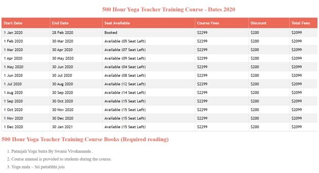 Vinyasa Yoga 2020 500 ytt