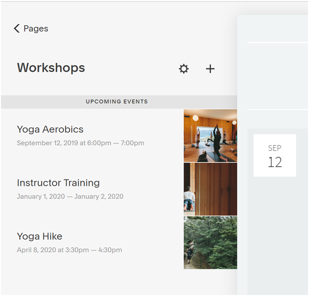 Create a yoga workshop page