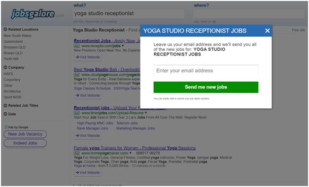 Yoga Studio Receptionists jobs Sydney