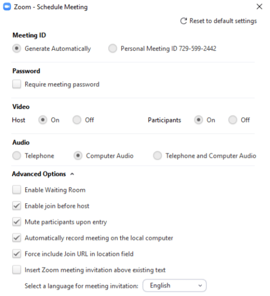 Zoom meeting settings and options