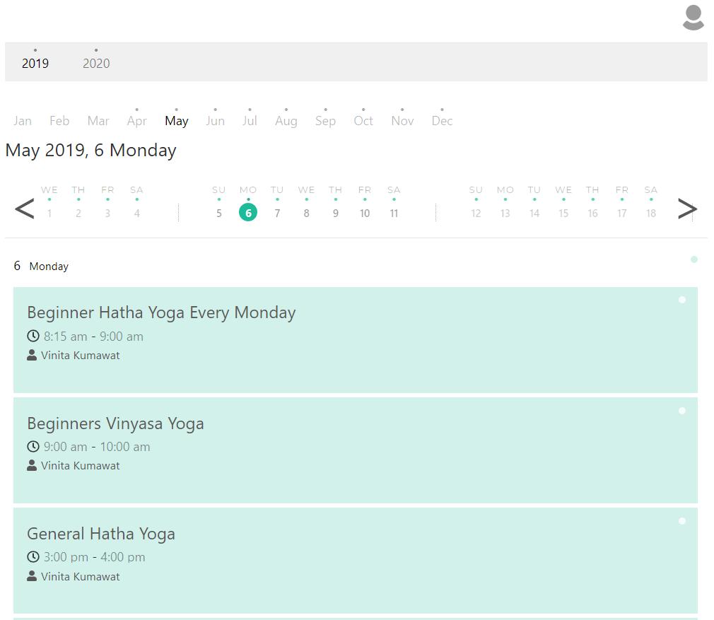 KRIYA Cost Effective Studio Class Calendar on Monday