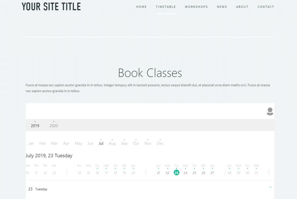 Preview timetable Squarespace KRIYA lowcost timetable booking system