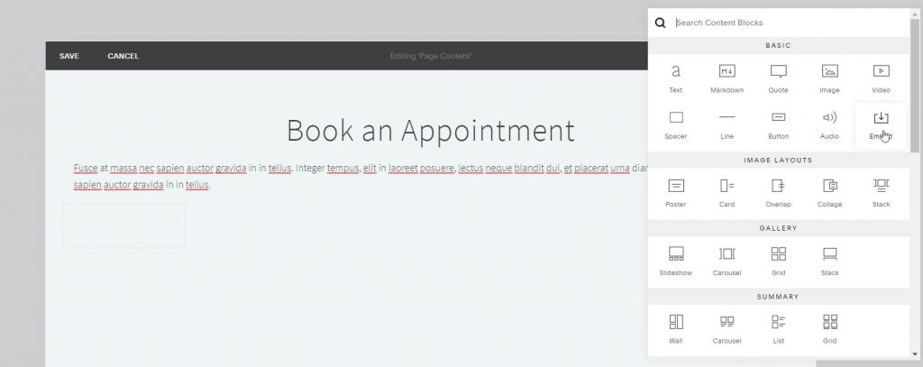 Squarespace add new-embed content-block-for KRIYA widget code