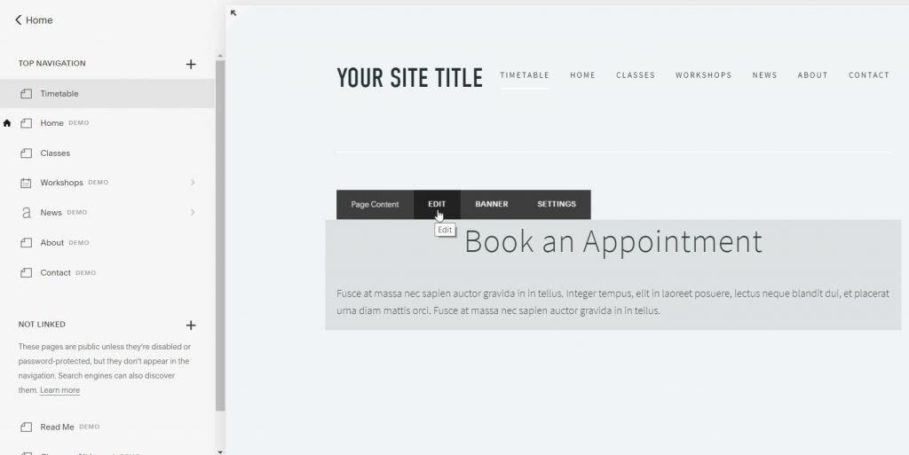 squarespace edit new kriya-class timetable yoga booking system empty page