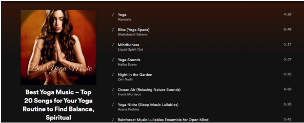 Top 20 yoga playlist on Spotify