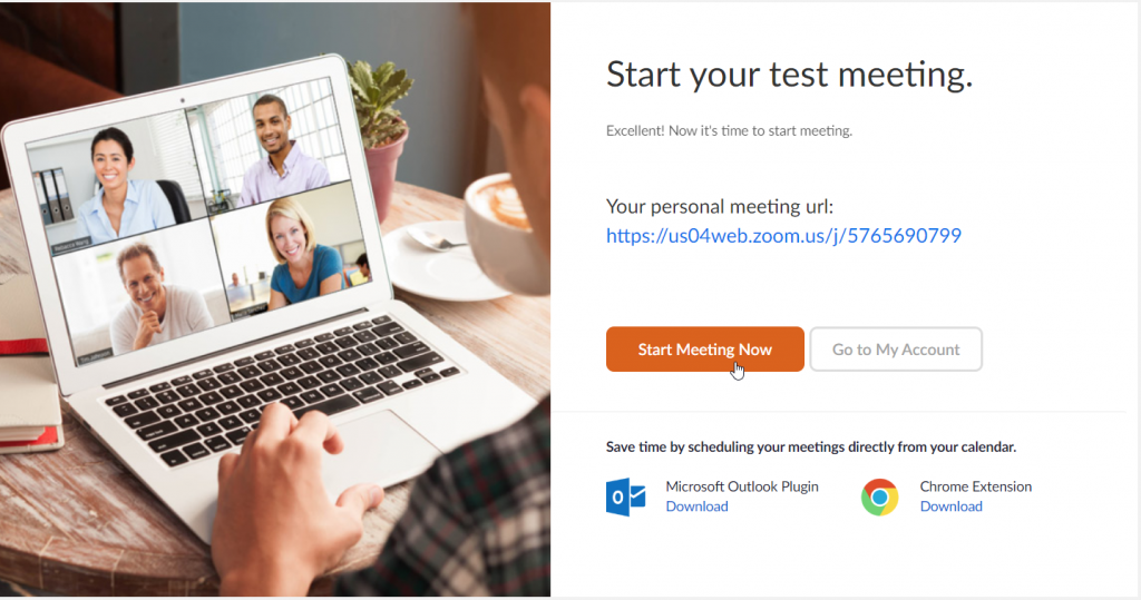 Zoom start your first meet create your meeting url and invite participants